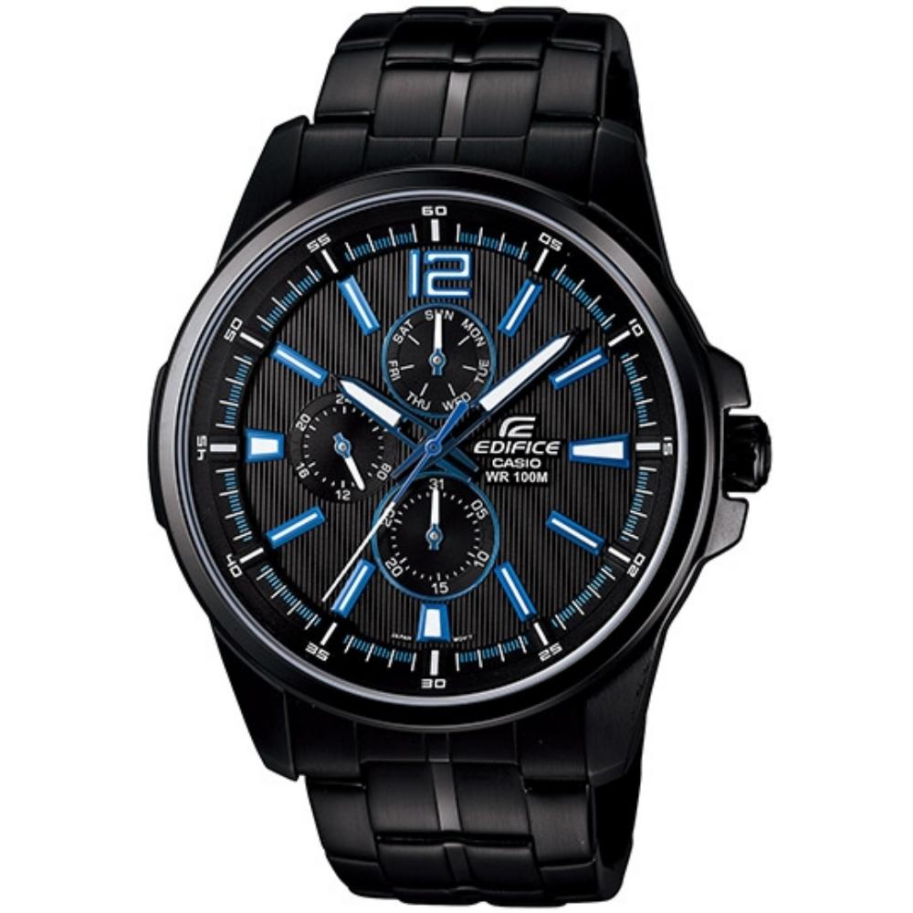 CASIO EDIFICE 簡約城市都會三眼指針錶-黑/40mm