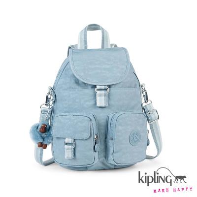 Kipling-後背包-石灰藍素面