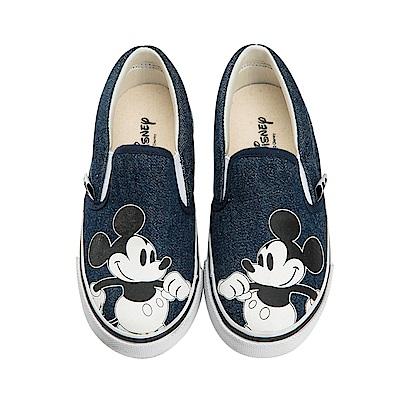 迪士尼 米奇 可愛復古造型 帆布便鞋-藍