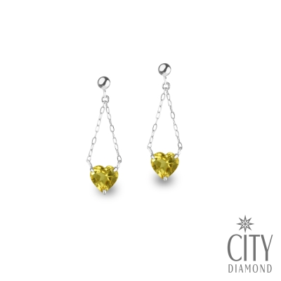 City Diamond引雅【東京Yuki系列】18K天然黃水晶愛心垂耳白K耳環