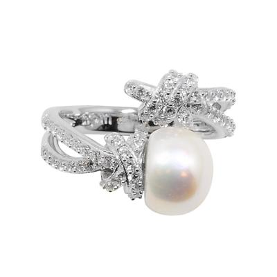apm MONACO法國精品珠寶 經典珍珠繩結開口鑲鋯戒指