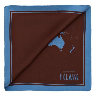 Alviero Martini 義大利地圖 經典地圖撞色絲巾(50X50)-咖啡/天藍