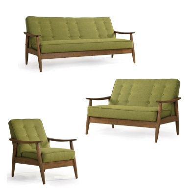 品家居 菲亞棉麻布實木沙發椅組合(1+2+3人座)-兩色可選