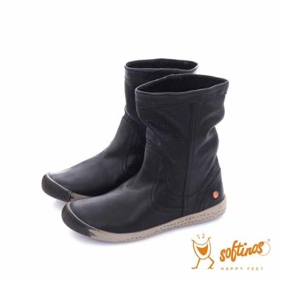 Softinos(女)  HAPPY FEET 十字壓紋超軟牛皮中筒短靴 - ?柔黑