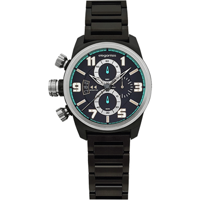 elegantsis Army 叢林戰鬥強悍三眼計時腕錶-IP黑/43mm