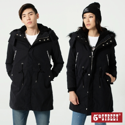 5th STREET 舖棉雙層長版外套-中性-黑色
