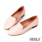 HERLS-平底鞋 鞋匠手作 全真皮 素面 樂福鞋-粉色
