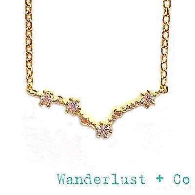 Wanderlust+Co 澳洲品牌 雙魚座項鍊 金色鑲鑽項鍊 PISCES