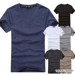 小猴子的賣場 MIT純綿好感度簡約休閒素面V領棉上衣-6色