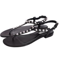 BALENCIAGA Classic 銀釦鉚釘夾腳涼鞋(黑色)