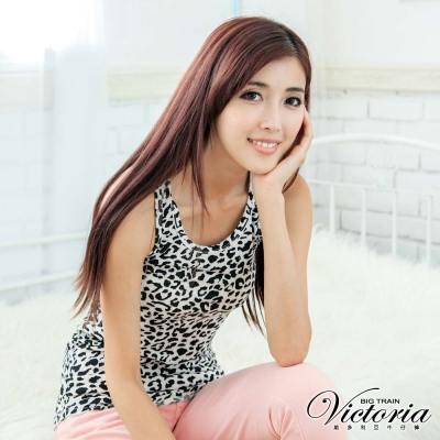Victoria 豹紋長版背心-女-白