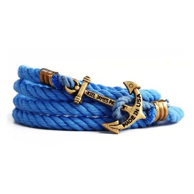Kiel James Patrick 美國手工船錨棉麻繩多圈手環 水藍色纏繞編織