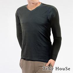 TiNyHouse保暖衣 輕薄保暖款台灣研發保暖纖維 男V領鐵灰色