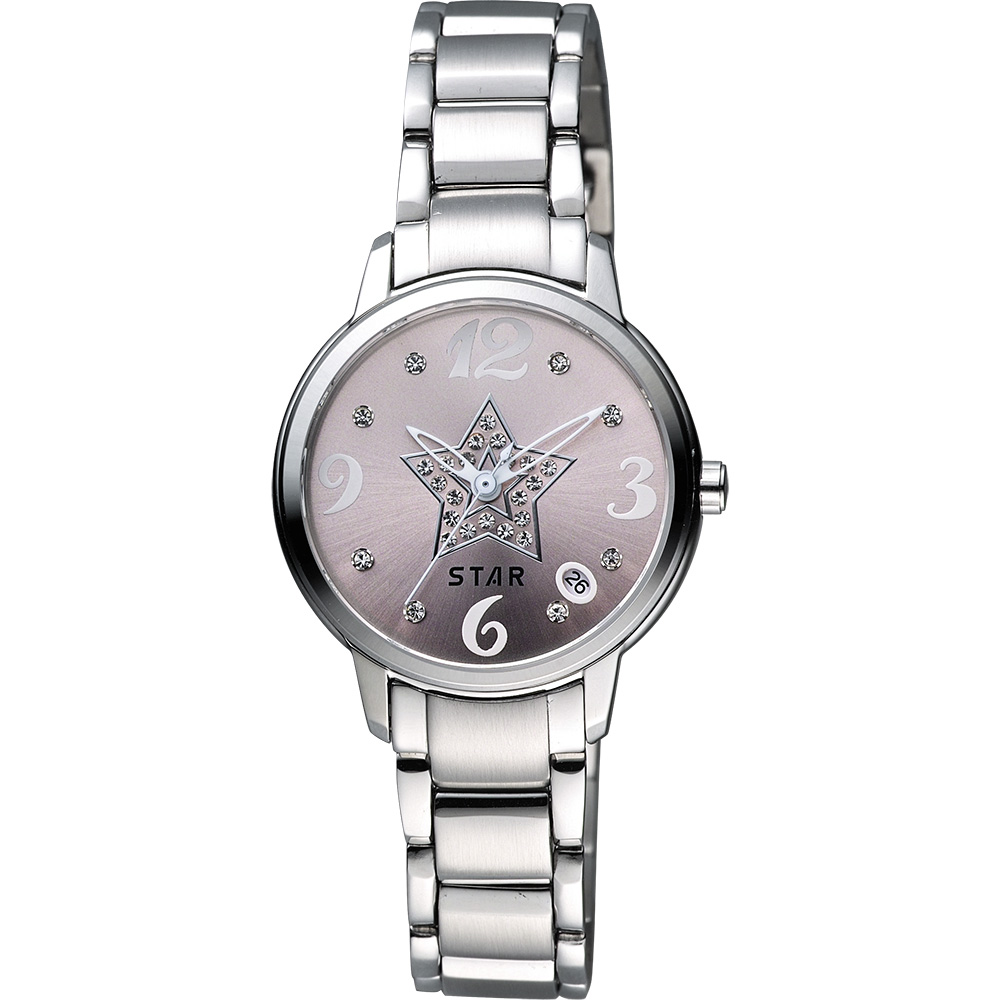 STAR 閃亮之星晶鑽甜蜜女錶-粉x銀/30mm