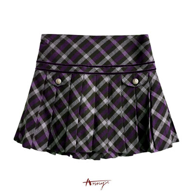 Annys貴族學院格紋勳釦百褶裙*5257紫