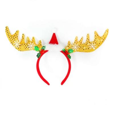 聖誕派對 大雪花聖誕帽鹿角髮箍(黃色)