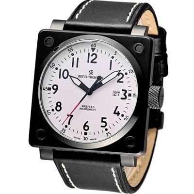 Revue Thommen 超級領航者飛行機械錶-IP黑x白/44x44mm