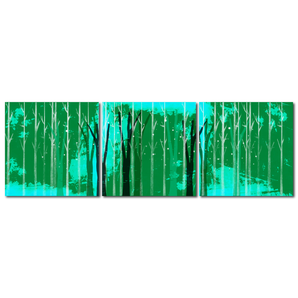 24mama掛畫 - 三聯複製無框藝術掛畫 - 森林綠 40x40cm