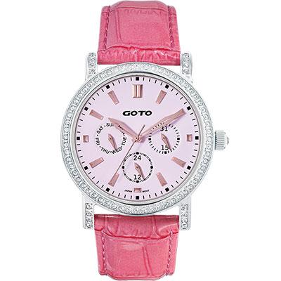 GOTO 天使的溫柔全日曆晶鑽腕錶-粉紅/40.5mm