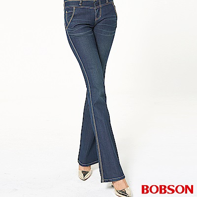 BOBSON 女款低腰伸縮小喇叭褲