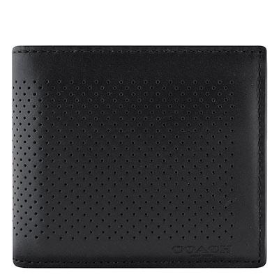 COACH-黑色皮革壓紋雙摺十卡短夾-附可拆名片夾