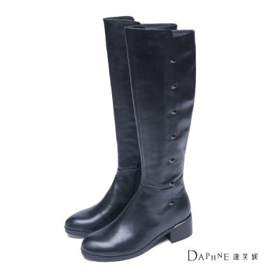 達芙妮DAPHNE-長靴-真皮尖頭金屬釦飾中跟長靴-黑8H