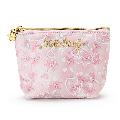 Sanrio HELLO KITTY亮澤緞布面紙化妝包(浪漫櫻花)