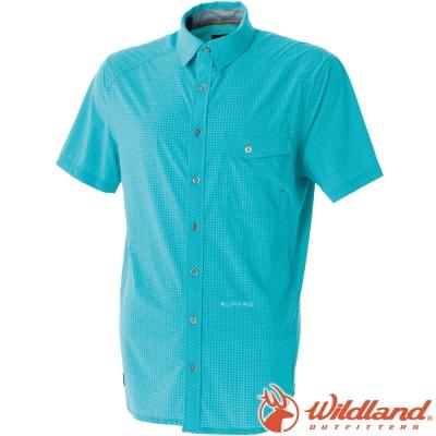 Wildland 荒野 0A51208-47藍綠 男 彈性格子布短袖襯衫 透氣排汗