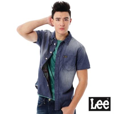Lee 101+ 牛仔短袖襯衫-男款-藍色