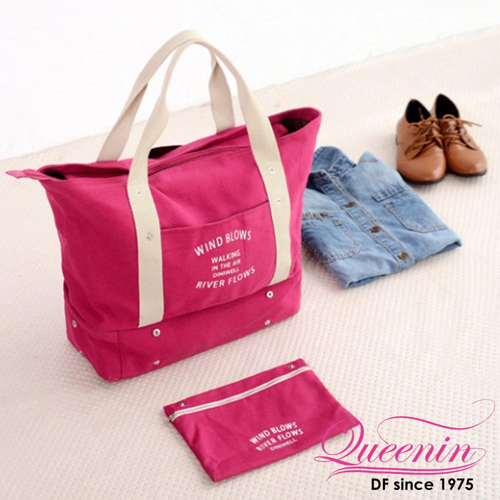 DF Queenin - 韓版帆布款輕旅遊肩背式旅行包-玫紅
