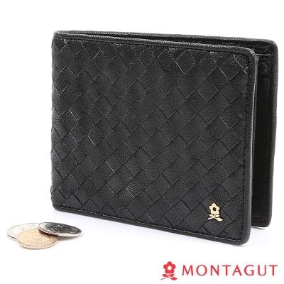 MONTAGUT夢特嬌-編織真羊皮短夾-黑