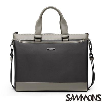 SAMMONS-真皮夏利豪撞色公事包-棕櫚咖