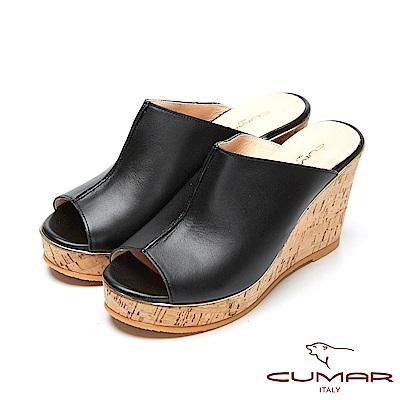 CUMAR時尚百搭-簡約設計感真皮船台涼鞋-黑色