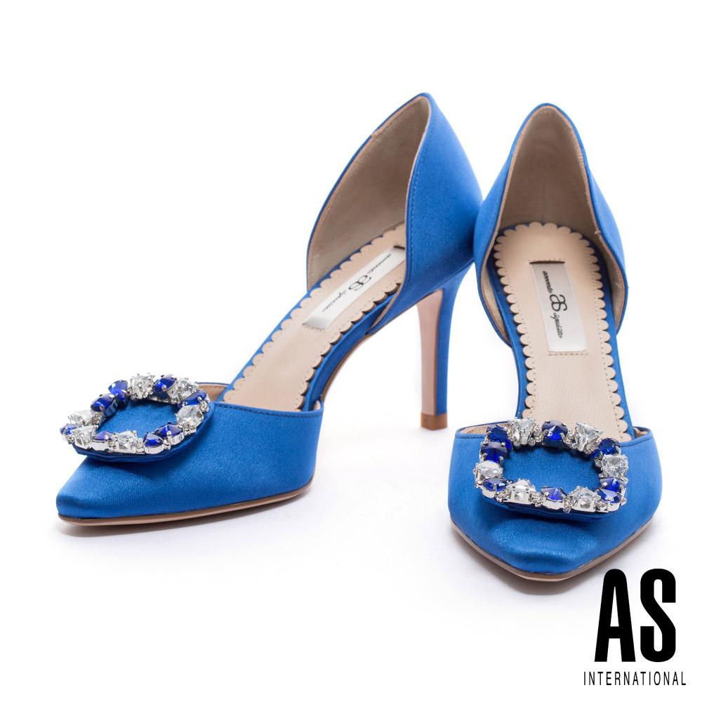高跟鞋 AS 璀璨奢華方型鑽釦點綴緞布鏤空尖頭高跟鞋-藍