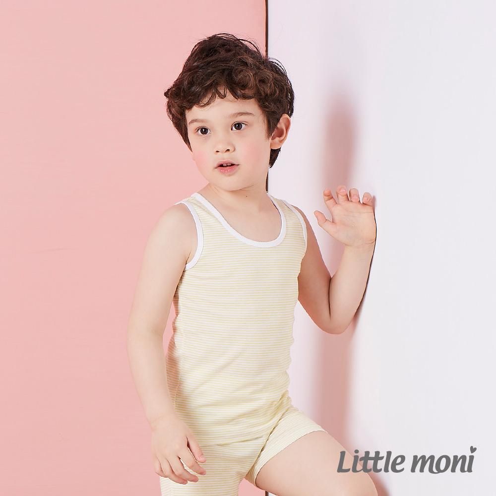 Little moni 涼感系列條紋兒童背心 黃色