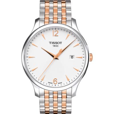 TISSOT TRADITION 古典風格石英腕錶-雙色/42mm
