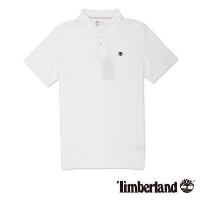 Timberland-男款白色素面刺繡短袖Polo衫