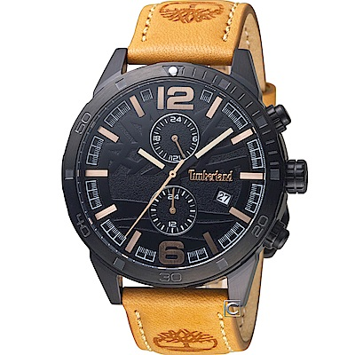 Timberland引領革新時尚腕錶(TBL.15256JSB 02)-46mm/黑x棕