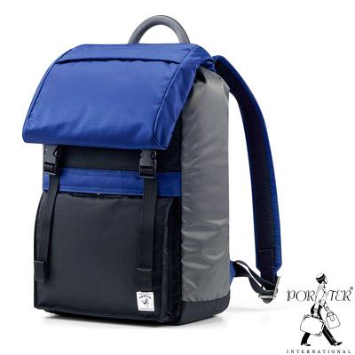PORTER-放色時尚PLAY輕巧休閒後背包-黑-藍