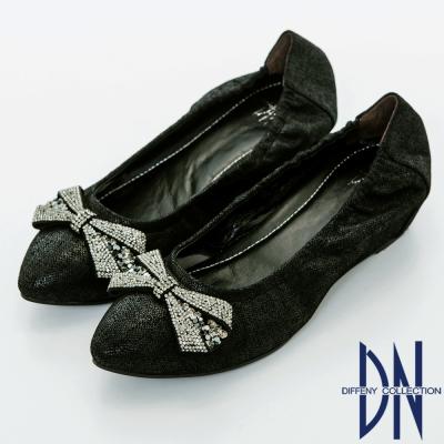 DN 優雅名媛 浪漫蝴蝶結鑽飾尖頭內增高鞋-黑