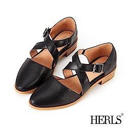 HERLS 輕恬優雅 全真皮交錯繫帶低跟鞋-黑色