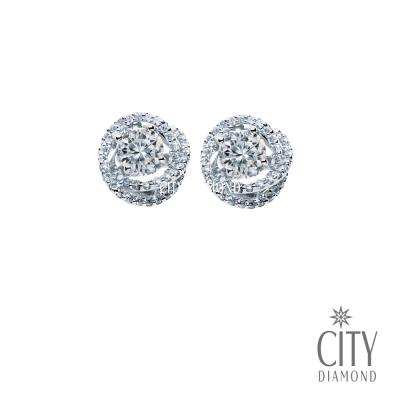 City Diamond『冰晶玫瑰』1克拉鑽石耳環(單邊50分)