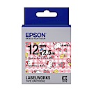 EPSON LK-4PBY Hello Kitty蘋果款粉紅底黑字標籤帶(寬度12mm)