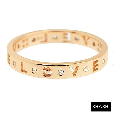 SHASHI 紐約品牌 Love 簍空刻字鑲鑽金戒指 求婚戒 定情戒