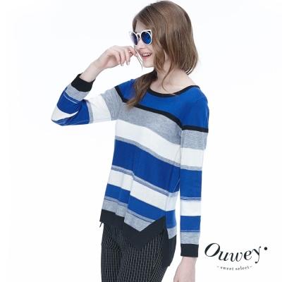 OUWEY歐薇-藍調配條針織上衣-藍
