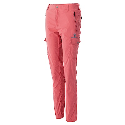 【Wildland 荒野】女彈性合身抗UV貼袋褲紅