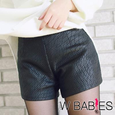 光暈皮質感紋理側拉鍊小短褲 (黑色)-W BABIES
