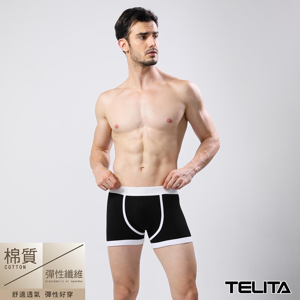 (超值4件組)男內褲 潮流個性平口褲/四角褲 黑色 TELITA