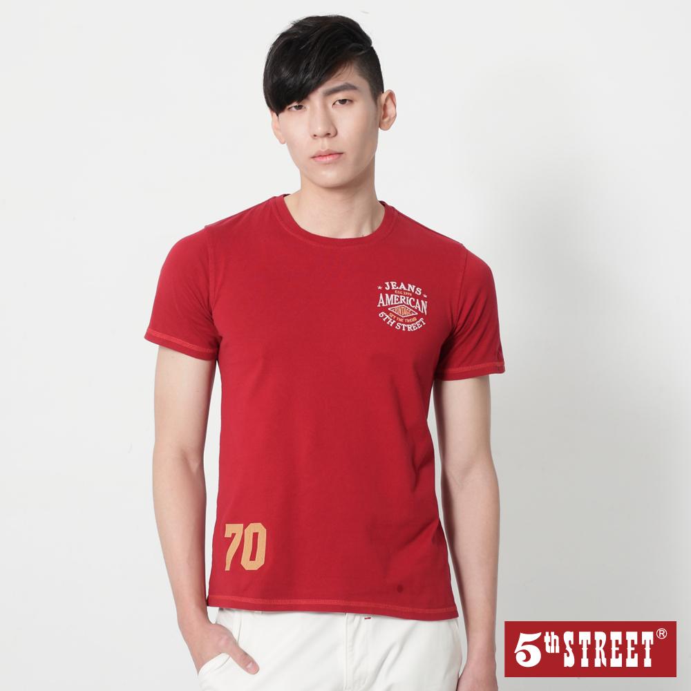 5th STREET 後染繡花T恤-男-紅色