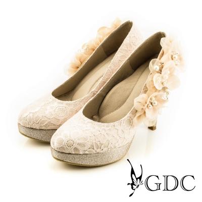 GDC-手工立體紗緞花飾蕾絲高跟鞋(婚鞋)-粉色